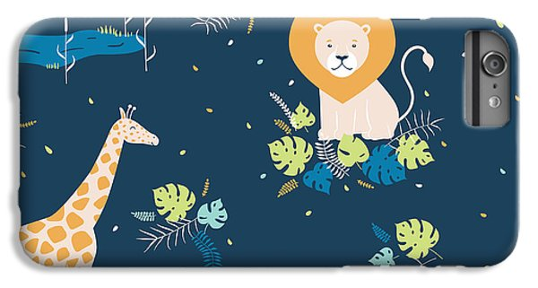 Lion iPhone 6 Plus Case - Vector Wildlife Seamless Pattern With by Inna Moreva