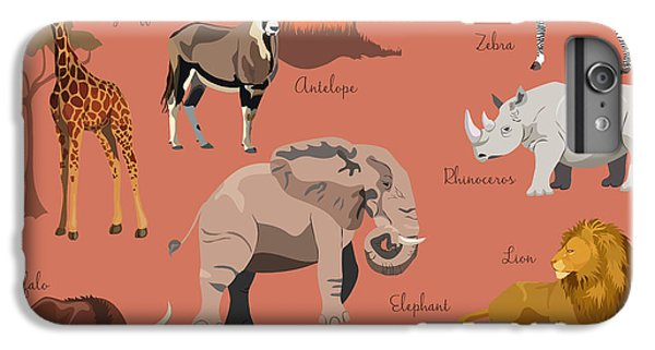 Lion iPhone 6 Plus Case - Wild African Animals Set With Nature by Lemberg Vector Studio