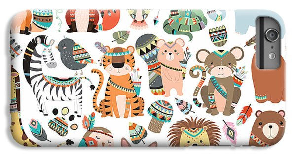 Lion iPhone 6 Plus Case - Woodland And Jungle Tribal Animals by Mckenna71