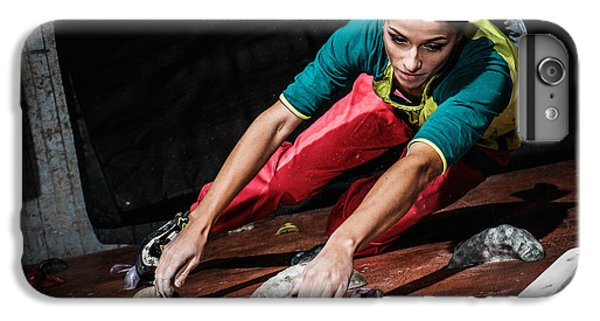 Workout iPhone 6 Plus Case - Young Woman Practicing Rock-climbing On by Nejron Photo