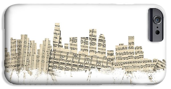 Los Angeles California Skyline Sheet Music Cityscape IPhone 6s Case by Michael Tompsett