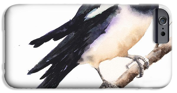 Magpies iPhone 6s Case - Magpie Painting by Alison Fennell