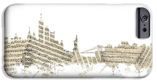 Philadelphia Pennsylvania Skyline Sheet Music Cityscape IPhone 6s Case by Michael Tompsett