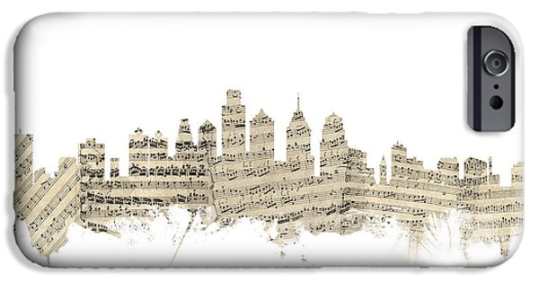 Philadelphia iPhone 6s Case - Philadelphia Pennsylvania Skyline Sheet Music Cityscape by Michael Tompsett