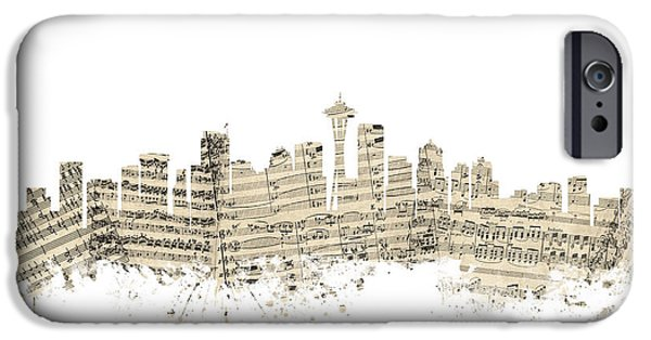 Seattle Washington Skyline Sheet Music Cityscape IPhone 6s Case by Michael Tompsett