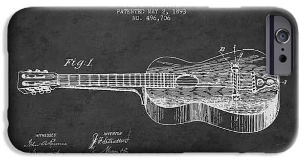 Stratton Guitar Patent Drawing From 1893 IPhone 6s Case by Aged Pixel