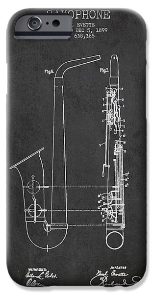 Saxophone Patent Drawing From 1899 - Dark IPhone 6s Case by Aged Pixel
