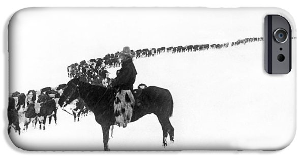Cow iPhone 6s Case - Wintertime Cattle Drive by Underwood Archives  Charles Belden