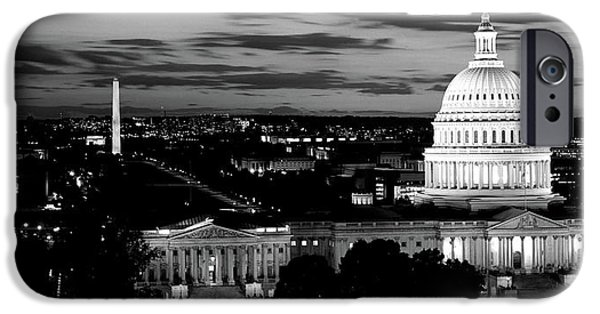 Capitol Building iPhone 6s Case - High Angle View Of A City Lit by Panoramic Images