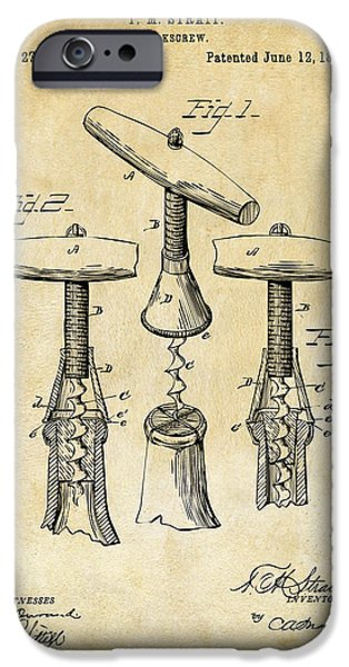 1883 Wine Corckscrew Patent Art - Vintage Black IPhone 6s Case