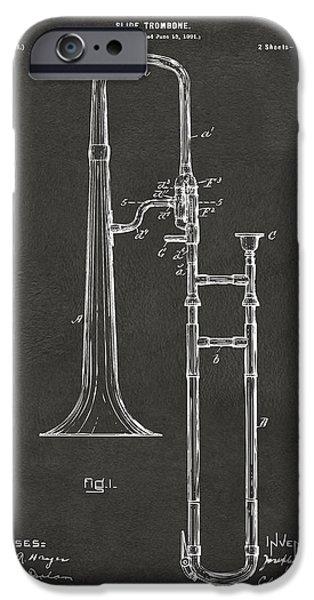 Trombone iPhone 6s Case - 1902 Slide Trombone Patent Artwork - Gray by Nikki Marie Smith