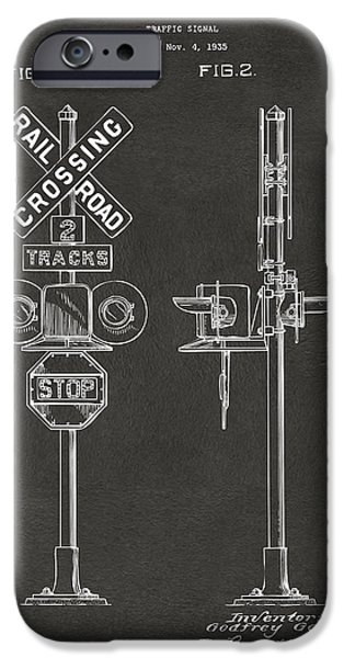 Train iPhone 6s Case - 1936 Rail Road Crossing Sign Patent Artwork - Gray by Nikki Marie Smith