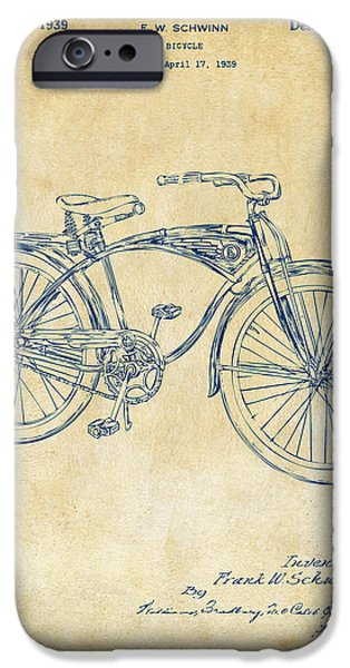 1939 Schwinn Bicycle Patent Artwork Vintage IPhone 6s Case by Nikki Marie Smith