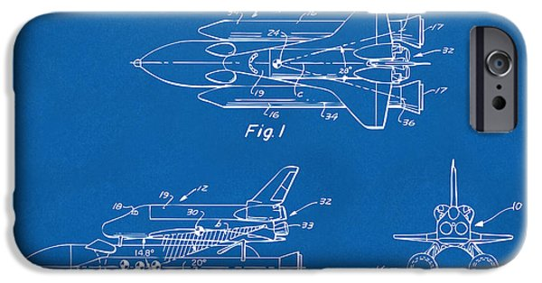 Space Ships iPhone 6s Case - 1975 Space Shuttle Patent - Blueprint by Nikki Marie Smith