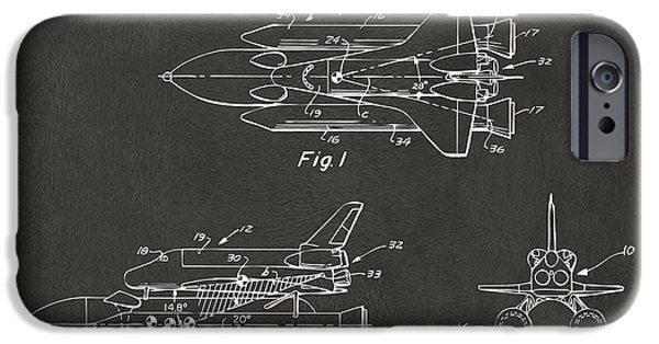 Space Ships iPhone 6s Case - 1975 Space Shuttle Patent - Gray by Nikki Marie Smith