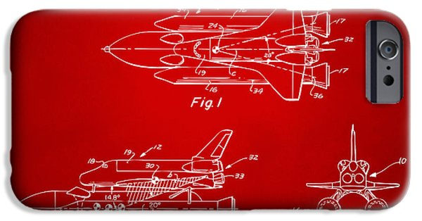 Space Ships iPhone 6s Case - 1975 Space Shuttle Patent - Red by Nikki Marie Smith