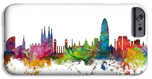 Barcelona iPhone 6s Case - Barcelona Spain Skyline by Michael Tompsett