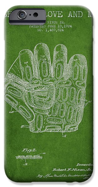 Baseball Glove Patent Drawing From 1924 IPhone 6s Case