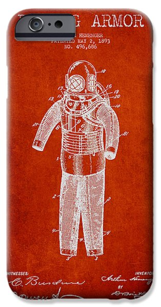 Scuba Diver iPhone 6s Case - Diving Armor Patent Drawing From 1893 by Aged Pixel