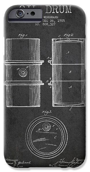 Drum iPhone 6s Case - Oil Drum Patent Drawing From 1905 by Aged Pixel