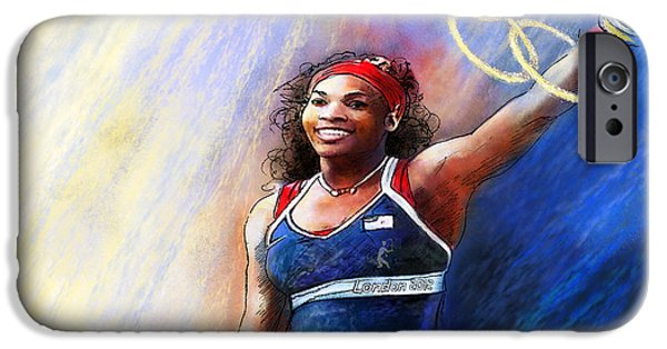 Serena Williams iPhone 6s Case - 2012 Tennis Olympics Gold Medal Serena Williams by Miki De Goodaboom