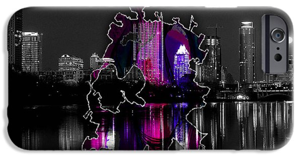 Austin Map And Skyline Watercolor IPhone 6s Case by Marvin Blaine
