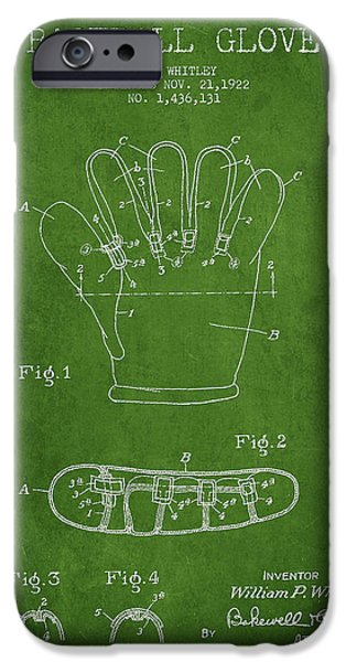 Baseball Glove Patent Drawing From 1922 IPhone 6s Case