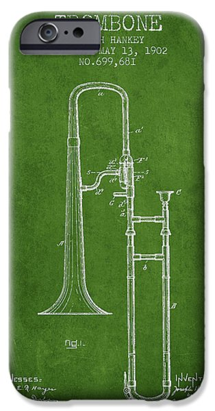 Trombone iPhone 6s Case - Trombone Patent From 1902 - Green by Aged Pixel