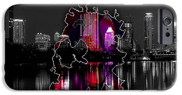 Austin Skyline iPhone 6s Case - Austin Map And Skyline Watercolor by Marvin Blaine