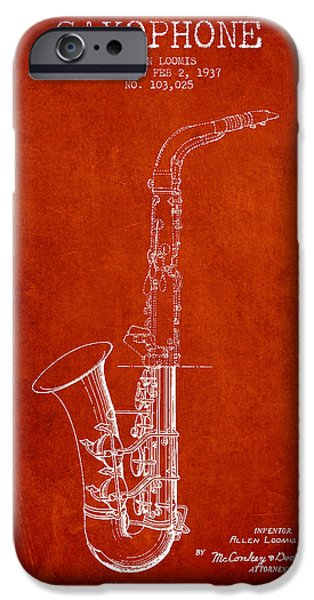 Saxophone Patent Drawing From 1937 - Red IPhone 6s Case by Aged Pixel