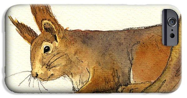Squirrel iPhone 6s Case - Squirrel by Juan  Bosco