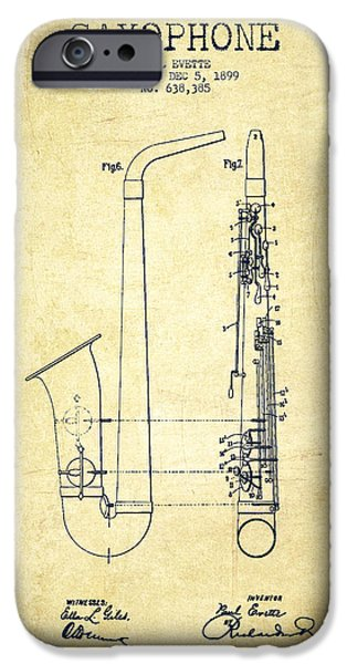 Saxophone Patent Drawing From 1899 - Vintage IPhone 6s Case by Aged Pixel