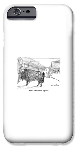 Yak iPhone 6s Case - A Large Buffalo Stands Near The Door by Michael Crawford