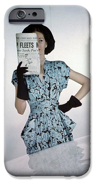 A Model Wearing A Floral Blue Dress IPhone 6s Case by Constantin Joff?