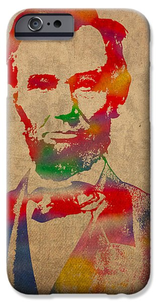 Portraits iPhone 6s Case - Abraham Lincoln Watercolor Portrait On Worn Distressed Canvas by Design Turnpike