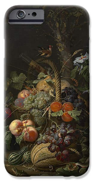 Abraham Mignon Still Life With Fruit Fish And A Nest C 1675 IPhone Case by MotionAge Designs
