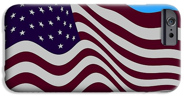 Abstract Burgundy Grey Violet 50 Star American Flag Flying Cropped IPhone 6s Case by L Brown