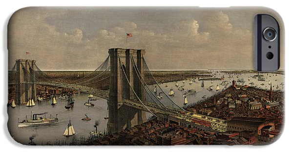 Antique Birds Eye View Of The Brooklyn Bridge And New York City By Currier And Ives - 1885 IPhone 6s Case