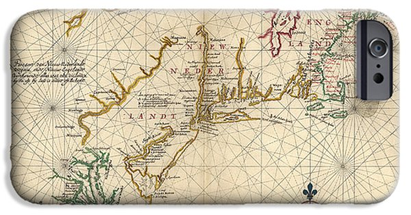 New England Coast iPhone 6s Case - Antique Map Of Colonial America By Joan Vinckeboons - Circa 1639 by Blue Monocle