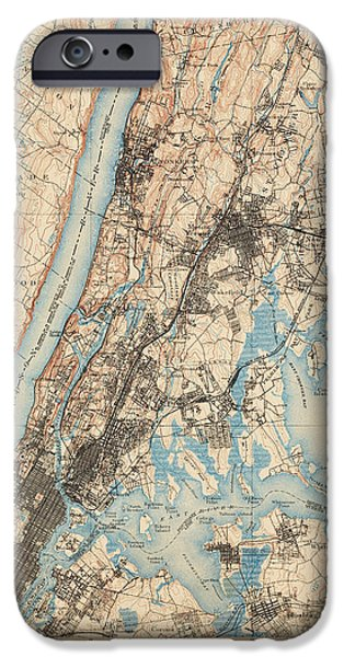 Antique Map Of New York City - Usgs Topographic Map - 1900 IPhone 6s Case by Blue Monocle