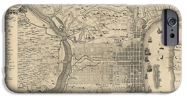Philadelphia iPhone 6s Case - Antique Map Of Philadelphia By P. C. Varte - 1875 by Blue Monocle