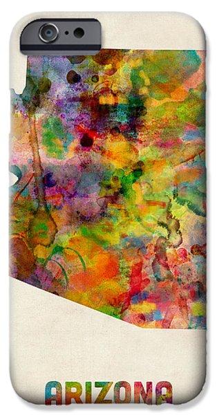 Phoenix iPhone 6s Case - Arizona Watercolor Map by Michael Tompsett