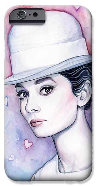 Audrey Hepburn Fashion Watercolor IPhone 6s Case by Olga Shvartsur