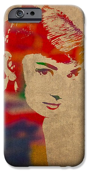 Portraits iPhone 6s Case - Audrey Hepburn Watercolor Portrait On Worn Distressed Canvas by Design Turnpike