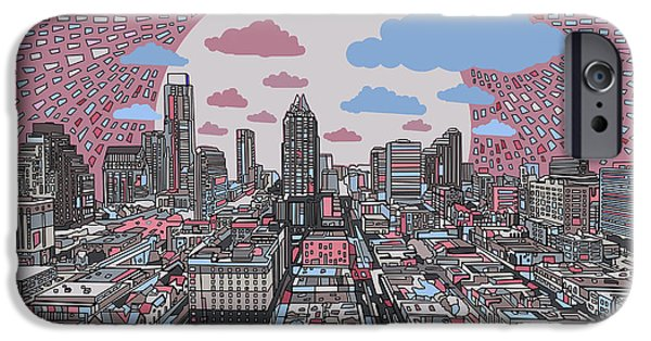 Austin Skyline iPhone 6s Case - Austin Texas Abstract Panorama 3 by Bekim Art