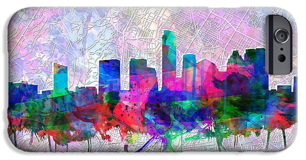 Austin Skyline iPhone 6s Case - Austin Texas Skyline Watercolor 2 by Bekim Art