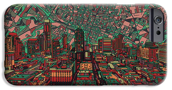 Austin Skyline iPhone 6s Case - Austin Texas Vintage Panorama 3 by Bekim Art
