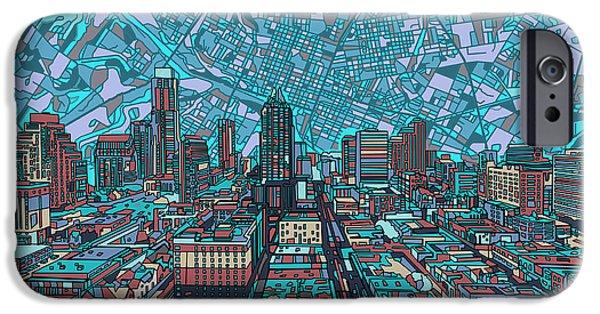 Austin Skyline iPhone 6s Case - Austin Texas Vintage Panorama 4 by Bekim Art