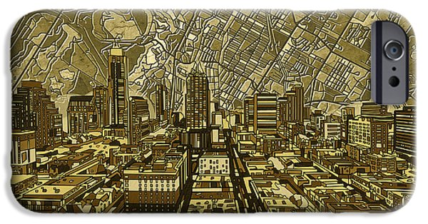 Austin Skyline iPhone 6s Case - Austin Texas Vintage Panorama by Bekim Art