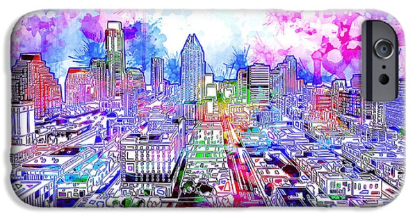 Austin Skyline iPhone 6s Case - Austin Texas Watercolor Panorama by Bekim Art